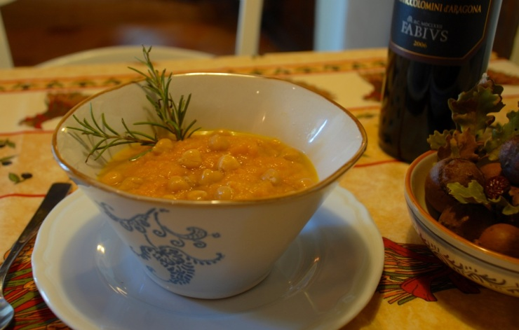 rosemary squash soup with chickpeas