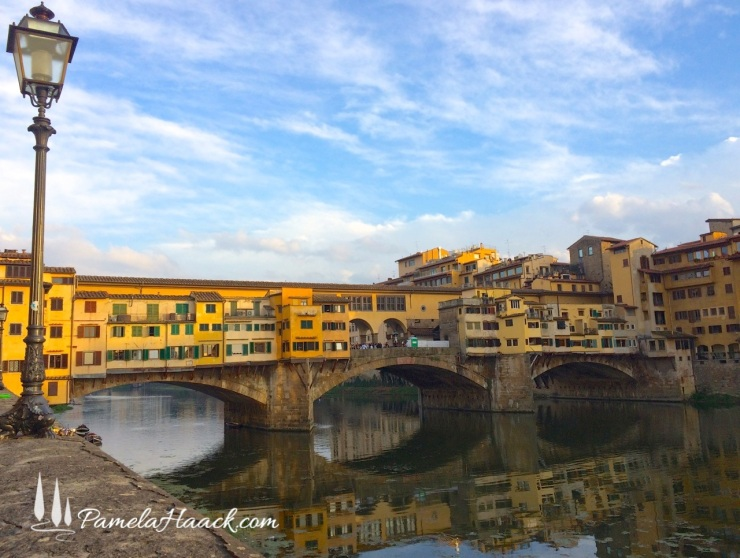 Facing the Ponte Vecchio from its less crowded west side